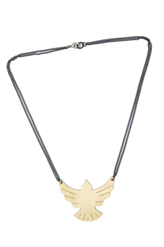 Kette mit Phönix, Messing // phoenix necklace, brass via DaWanda.com