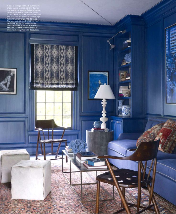 Eclectic Style living room in Cobalt Blue