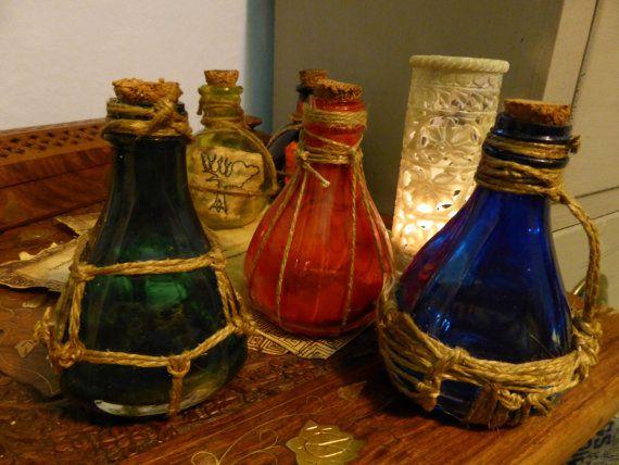 Skyrim Inspired Potion Bottles Damage Magicka or by KateMurrays