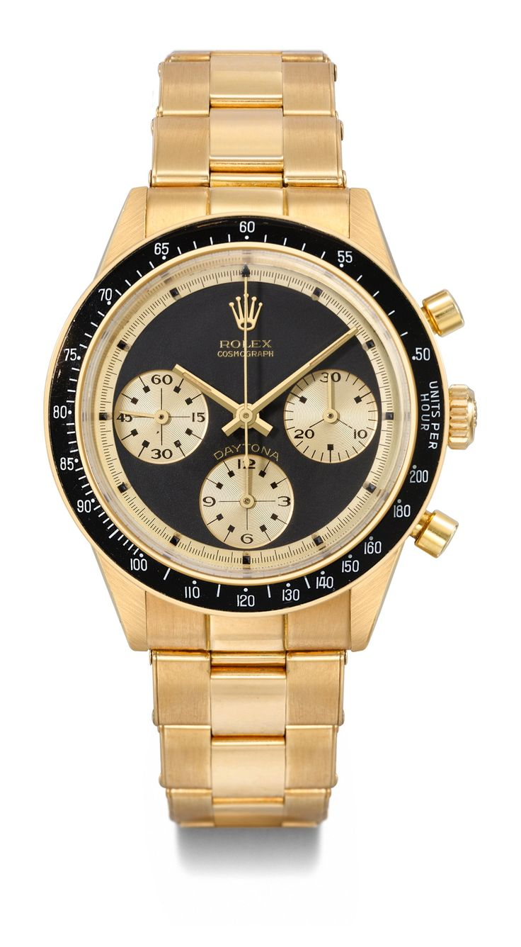 Rolex. A very fine and extremely rare 18K gold chronograph wristwatch with bracelet retailed by Hermes, Daytona, Paul Newman model, ref. 6241, manufactured circa 1968, CHF 200000-300000