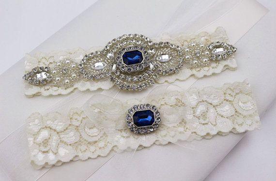 Something Blue Wedding Garter Set , Rhinestone and Crystal Garter, Lace Bridal Garter , Wedding Garter ,Lace Garter