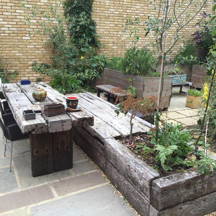 Railway Sleeper Table And Bench Backyard Landscaping Backyard Garden Backyard Fire