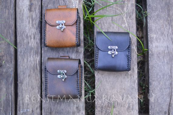 Leather Belt Pouch / MTG Deck box - Steampunk, Biker, Ren Faire, Music Festival, LARP