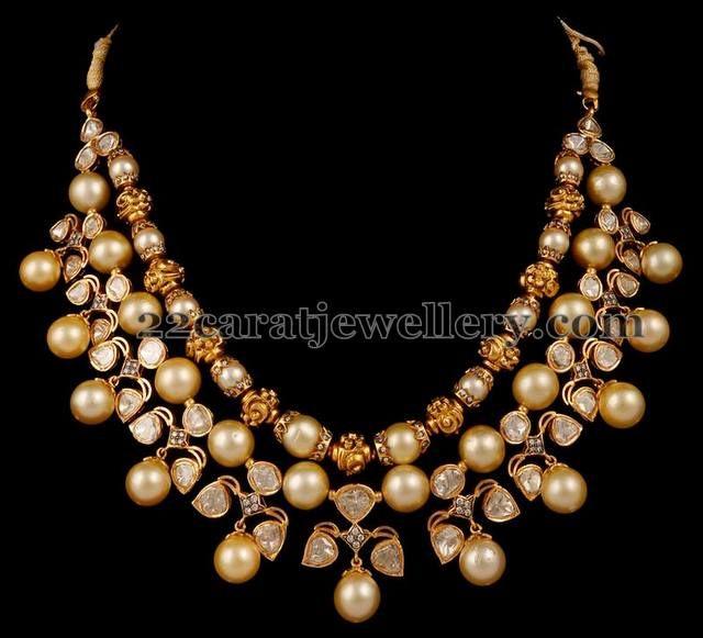 Pearls and Polki Strings Choker - Jewellery Designs