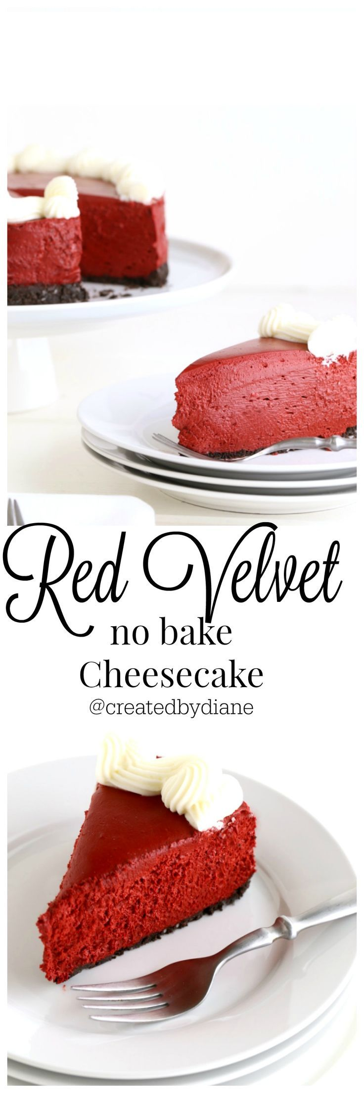 Red Velvet no bake Cheesecake from  /createdbydiane/