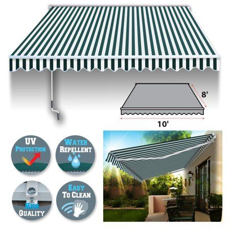 Sunrise 10 X 8 Manual Retractable Patio Deck Awning Cover Canopy Sunshade Green With White Walmart Com Patio Deck Deck Awnings Patio