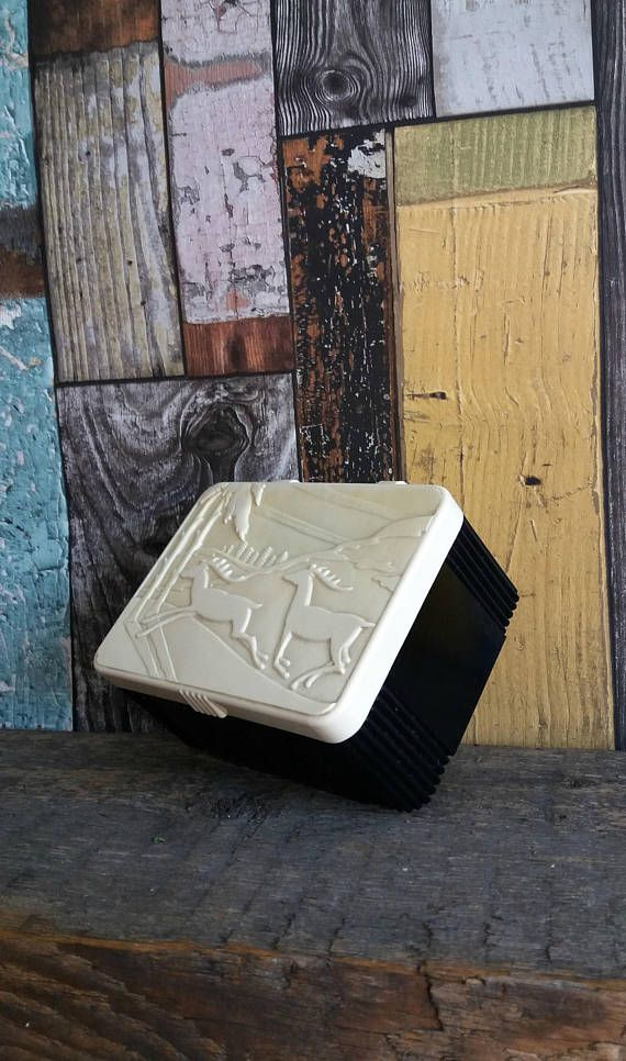 ITEM storage box with lid * trinket box * plastic storage box * scandinavian decor * cufflink box * box with lid * nordic scene * vintage box *  This is a lovely vintage, plastic box with a moulded hinged plastic lid showing a reindeer forest scene. Made in England, this little