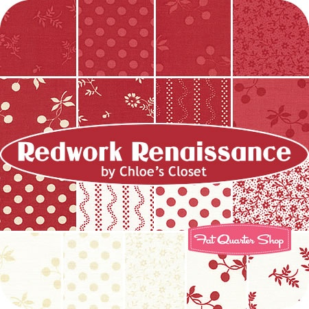 Redwork Renaissance by Chloe's Closet for ModaFashion Fabrics, Quilt Things, Monocromatic Red, Favorite Fabrics, Jelly Rolls, Redwork Renaissance, Chloe Closets, Quilting Redwork, Moda Redwork