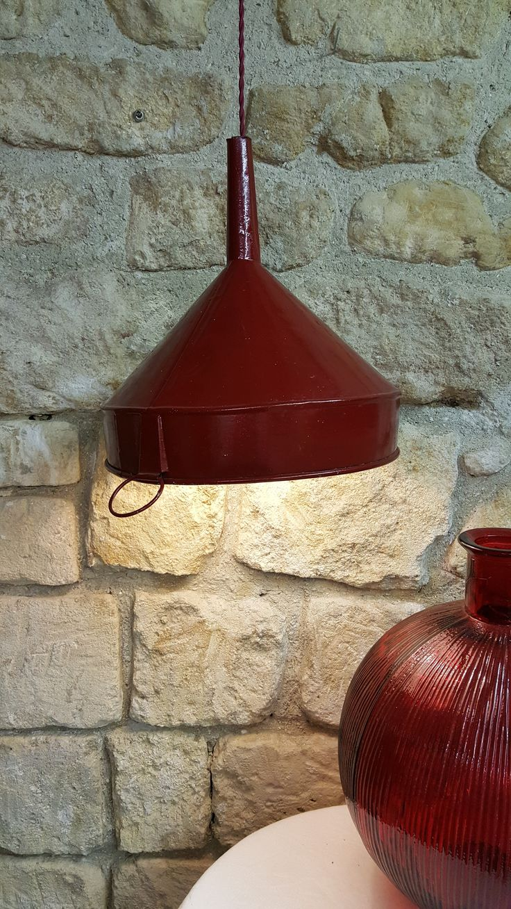 XXL Red metal Funnel ceiling lamp made by www.avenuedesbonshommes.com