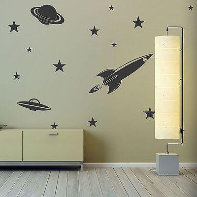 Space Theme Vinyl Wall Art - Rocket Planet UFO Stars Boys Bedroom Stickers Decal