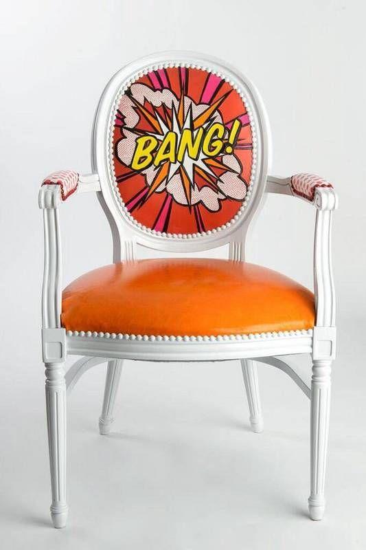Roy Lichtenstein-esque design, hand-painted onto a French Louis XVI armchair.