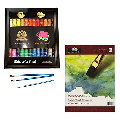 Watercolor Paint Set 24 and Watercolor Paper Sheets  WATERCOLOR PAINT SET 24 Made Special for Professional Artists and Beginners  WATERCOLOR NON TOXIC PAINT SET Safe To Keep In House Round Your Children And Animals  WATERCOLOR PAINT Set 24 In Bundle  WATERCOLOR PAPER SHEETS 25  PROFESSIONAL ARTISTS WILL LOVE Your Bright Watercolor Paint Color's And Supplies For Beginners and Professional Artists
