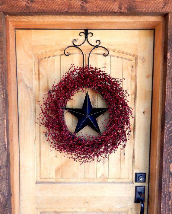 LARGE RED & BLACK Barn Star Door WreathLarge by WildRidgeDesign