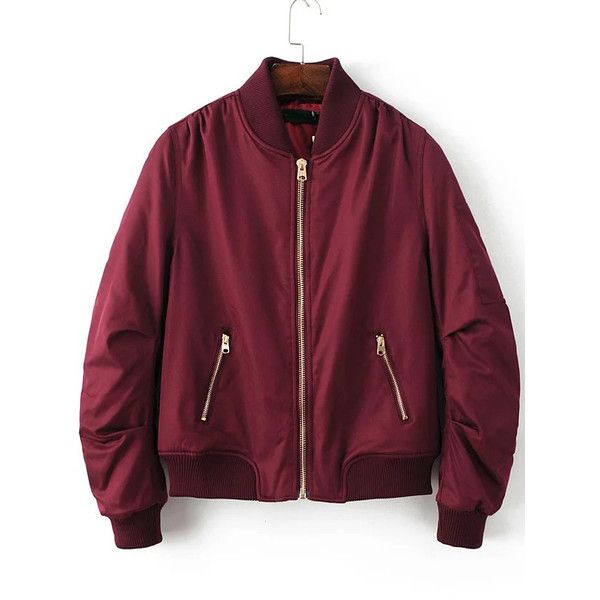 Burgundy Ribbed Trim Bomber Quilted Jacket (180 ILS) ❤ liked on Polyvore featuring outerwear, jackets, quilted jacket, quilted bomber jacket, stand collar jacket, print jacket and collared bomber jacket