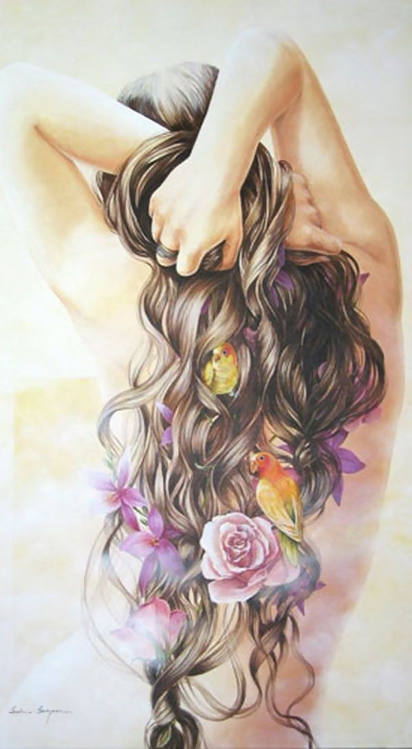 Artist: Chelìn Sanjuan {figurative female birds flowers roses woman posterior back painting detail}