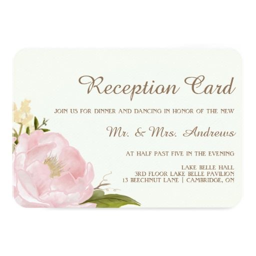 Vintage Pink Peonies Wedding Reception Card