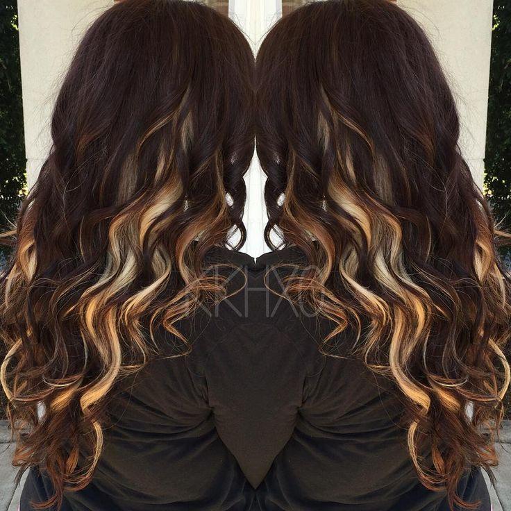 Brown Hair With Blonde Peekaboo Highlights Underneath