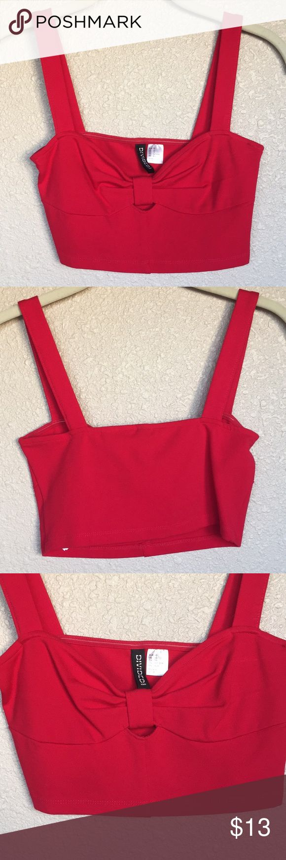 Red bow crop top Adorable 50s pinup inspired red crop top. Perfect condition. H&M Tops Crop Tops