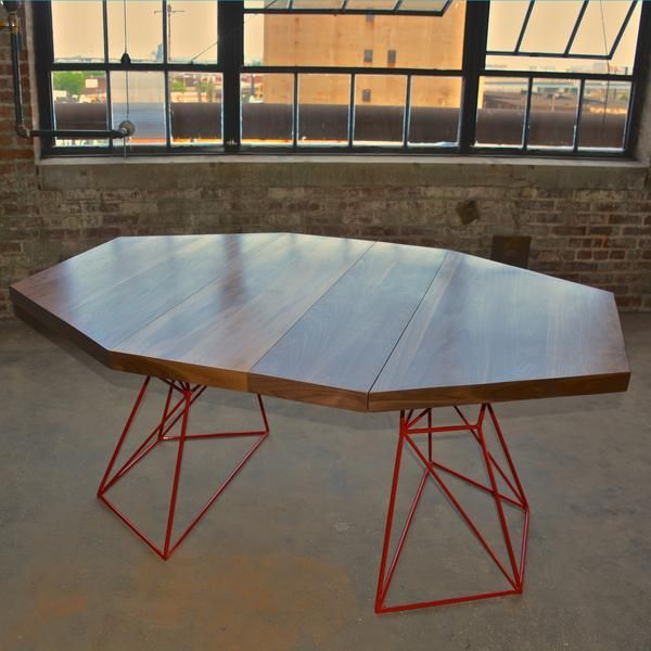 Modern Hexagon Dining Table With Extension Top In Walnut And Steel