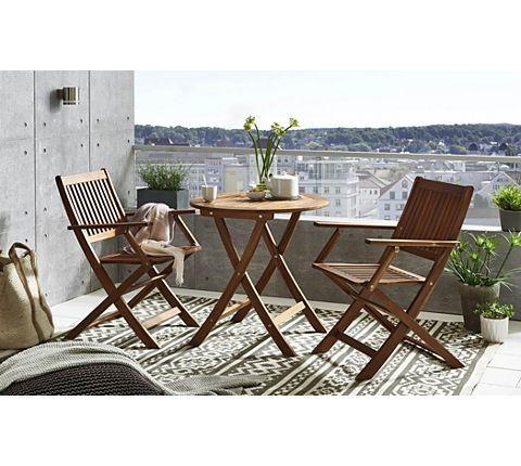 SAM Stil Art Möbel GmbH Balkonmöbelset SVAANA 3tlg. Tisch 65 Cm Akazie FSC®  |