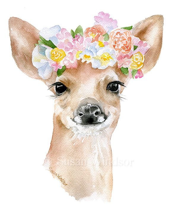 Deer Fawn with Flowers watercolor giclée reproduction. Portrait/vertical…