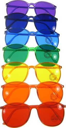 """color therapy glasses: """"select the color that corresponds to a specific energy that you need in your life and pop themon for an hour or so to feel the effects. Some people buy a full set of colored glasses and use them fluidly. You may have a specific issue that could be benefited by a single color used over a longertime. As with all things, go slow & no overdoing it!"""""""