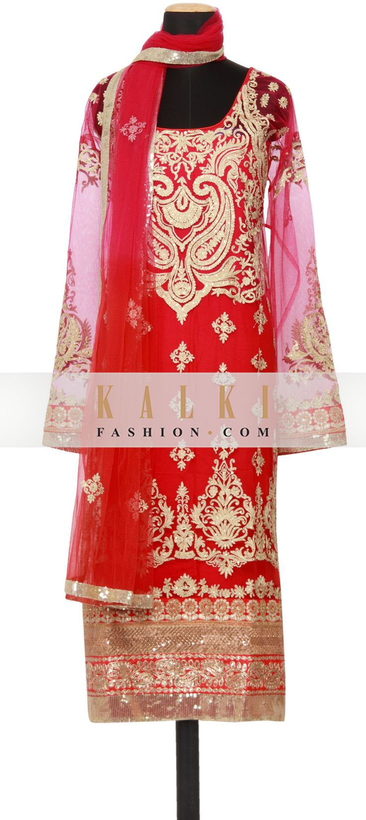 Buy Online from the link below. We ship worldwide (Free Shipping over US$100)  http://www.kalkifashion.com/featuring-a-fushia-net-straight-fit-semi-stitched-salwar-kameez-embellished-in-zari-kundan-and-sequin-only-on-kalki.html