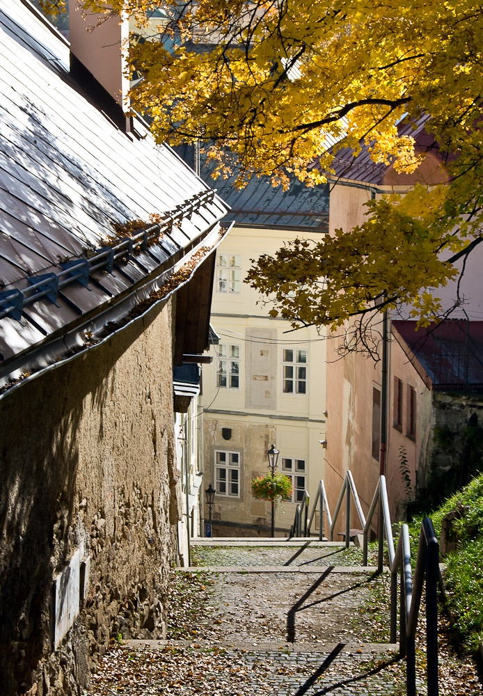 Autumn city-walk hiking in Banska Stiavnica / Slovakia