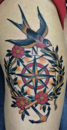 feminine compass tattoo back - Google Search
