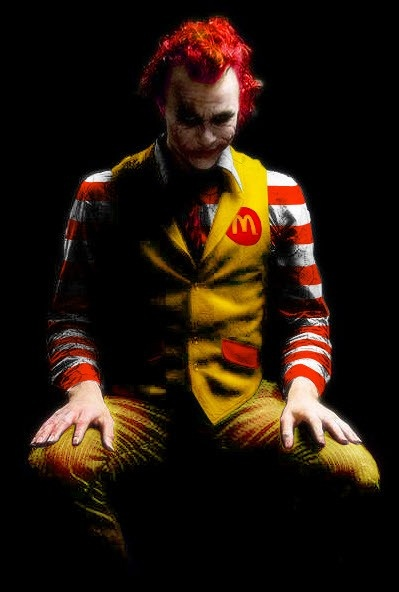 "Clowns creep me out, but this takes the cake....Heath Ledger as ""Joker"" ronald mcdonald"