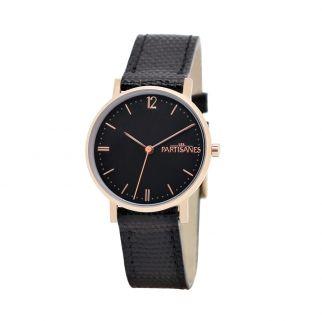 L'Audacieuse or rose, fond noir, bracelet lézard noir. #lespartisanes #watch #womenwatch #paris #madeinfrance