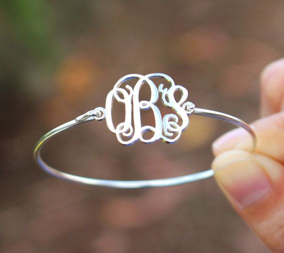 Monogram Bangle - Personalized Name Bracelet - Mom Gifts - Sterling Silver / 18K Gold Plated / White Gold Plated