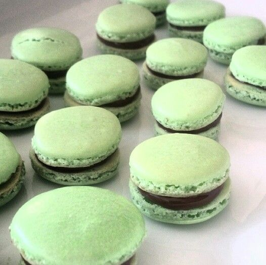 Mint Macarons with Nutella filling