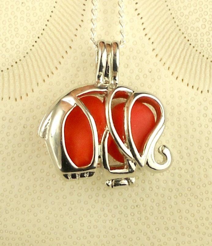 GENUINE Sea Glass Necklace Elephant Locket  Red Milk Glass