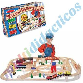 Este increíble juego de trenes de madera incluye todo lo necesario para los entusiastas del tren: un amplio depósito de locomotoras redondo, decenas de piezas curvas y rectas, árboles, trabajadores, señales de tráfico, locomotoras y vagones, grúas magnUticas, interruptores y un cruce para cambiar de rumbo; puente colgante, puente de caballete. Posibilidad de combinar con otros juegos de trenes. #Juguetes #Madera #Infantil http://www.multididacticos.com