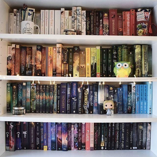 Wer zur Hölle sortiert sein Bücherregal nach Farbe?????? (Sieht aber ganz gut aus...)