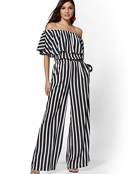783b1e0329b1 7th Avenue - Black   White Stripe Off-The-Shoulder Jumpsuit - New York    Company