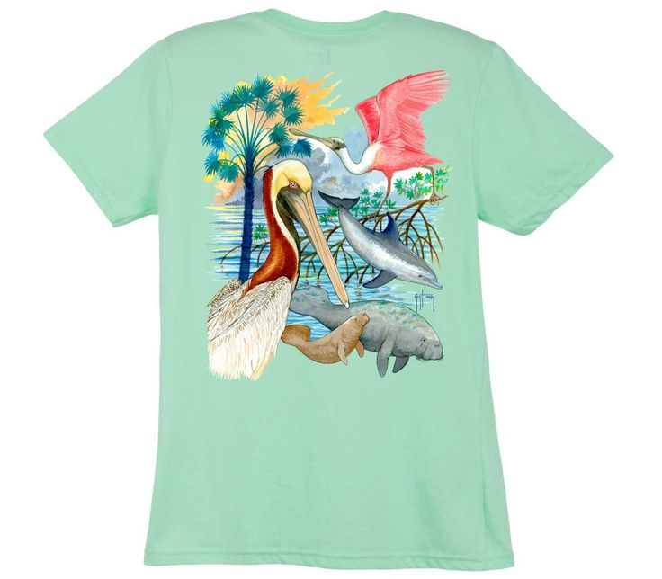 Guy Harvey Shirts - Guy Harvey Gulf Mammals Ladies Back-Print Tee with Front Signature in Caribbean Blue, White, Yellow or Mint, $19.95 (http://www.guyharveyshirts.com/guy-harvey-gulf-mammals-ladies-back-print-tee-with-front-signature-in-caribbean-blue-white-yellow-or-mint/)