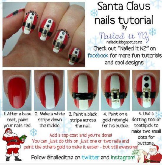 Uñas decoradas con papá Noel - http://xn--decorandouas-jhb.com/unas-decoradas-con-papa-noel/