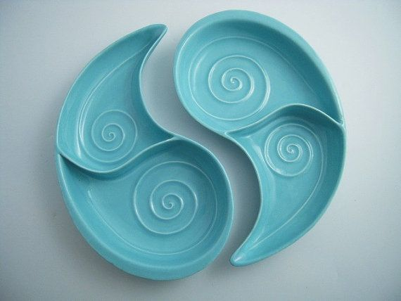 Mid Century Ying and Yang Aqua 2 Piece Curved by CampStoreVintage