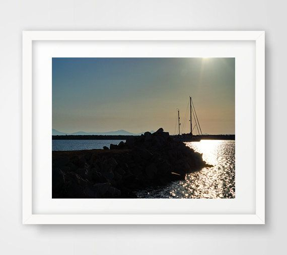 Sunset print photography picture ocean art seaport greek islands Greece Naxos wall prints home living room bedroom romantic blue decor by Ikonolexi on Etsy
