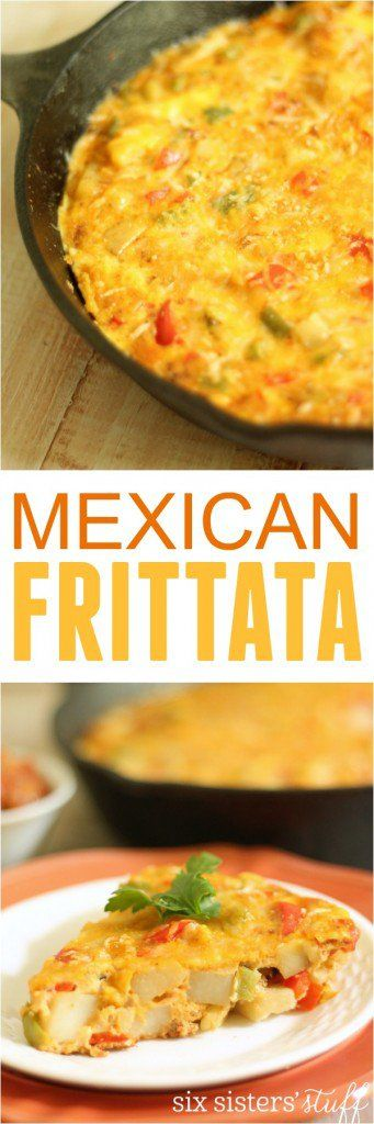 Mexican Frittata on Six Sisters' Stuff   This tasty Mexican Frittata is made with a delicious combination of peppers, eggs, potatoes and chorizo. We love it served with hot sauce or fresh salsa. Makes for a great brunch recipe!