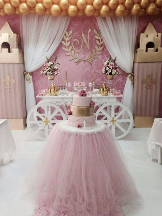 Adorable idea for baby shower or little princess party. Decorate moving boxes for castle towers, a white table is transformed with cardboard cutout wheels. The desert table with tule skirt and beautiful gold balloons. #babyshower #princessparty