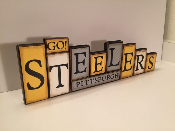 Steelers Sign Word Blocks - Pittsburgh Wooden Block Set - Pittsburgh Steelers Shelf Sitter - football Father's Day gift by GuidingPrintables on Etsy https://www.etsy.com/listing/246480762/steelers-sign-word-blocks-pittsburgh