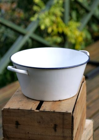 vintage low enamel bucket