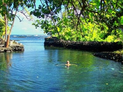 Champagne Pond, Big Island, Hawaii. The pond is heated by natural thermal springs.