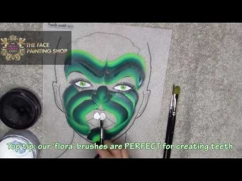 One Stroke Hulk Face Painting Tutorial | The Face Painting Shop - YouTube