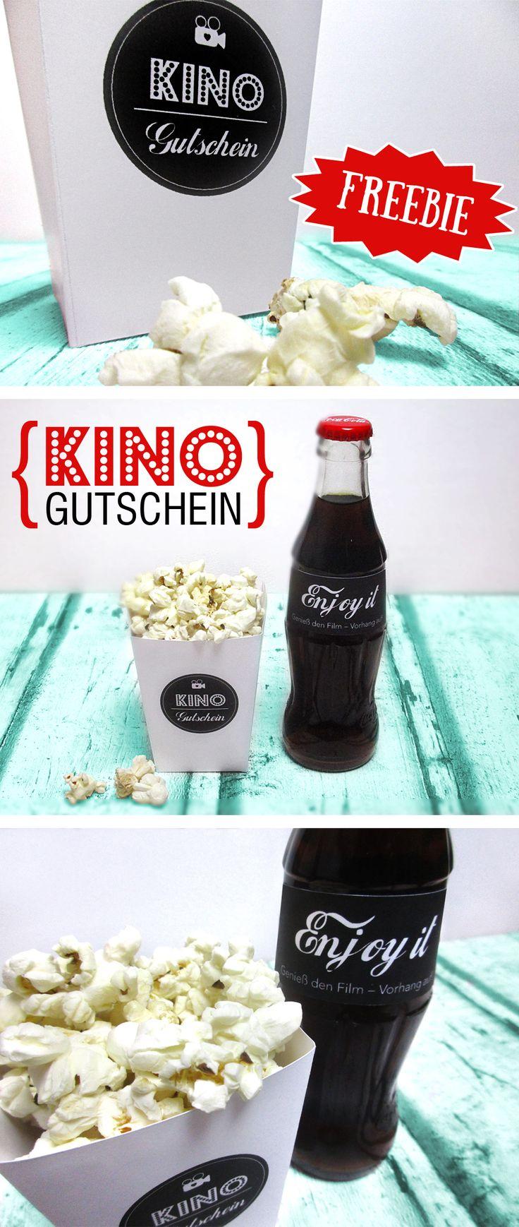 Tolles #Geburtstagsgeschenk: Einen #Kinogutschein verschenken mit einer Popcornbox und einer Cola! Ganz einfach selber basteln mit #Freebies zum Runterladen! #printable