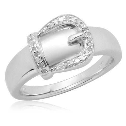 Sterling Silver Buckle Diamond Ring (0.05 cttw, I-J Color, I