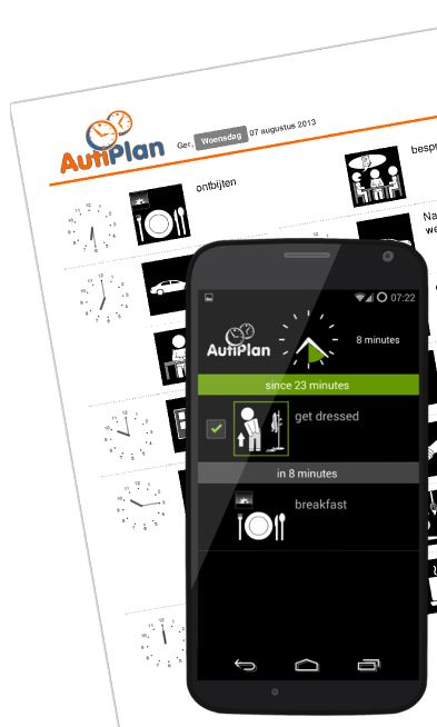 Super eenvoudig een duidelijke planning met pictogrammen voor een persoon met Autisme, ADHD of een verstandelijke beperking. Print de planning uit of gebruik hem direct op PC, tablet of mobiele telefoon.